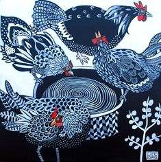 Cate Edwards black and white hens Art And Illustration, Illustrations, Rooster Art, Arte Tribal, Chicken Art, Chickens And Roosters, Galo, Linocut Prints, Bird Art