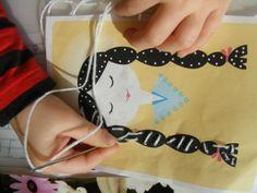 Oefenen - borduren, naaien #onderwijs #motoriek #craft # knutselen #watdoetvanessanu #zelfmaken