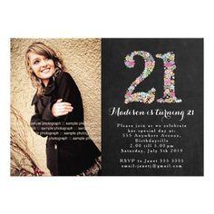 Chalkboard Floral Girls 21st Birthday Party Invite Birthday Invitation Message, 21st Birthday Invitations, Birthday