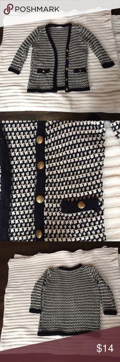 Cabi black and. Cream sweater in size small Cabi black and cream sweater with buttons. Sz small. Beautiful vintage sweater wear it over a blouse or cami! Classic but oh soo fun !!! Like new CAbi Sweaters Cardigans