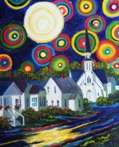 'Starry Night in the Village' by Nova Scotia Artist, Joy Laking. Line Doodles, Prince Edward Island, Canadian Artists, Art Classroom, Nova Scotia, Craft Fairs, Love Art, Modern Art, Art Gallery