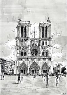 """Etsy.  Original painting """"Notre-Dame"""" - Paris. Watercolor painting and black ink. By Nicolas Jolly. #art #painting #watercolor #notre-dame #paris"""