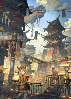 Uploaded by FANTASY. Find images and videos about girl, anime and cat on We Heart It - the app to get lost in what you love. Fantasy City, Fantasy Kunst, Fantasy Places, Art And Illustration, Ronin Samurai, Futuristic City, Environment Concept Art, Fan Art, Anime Scenery