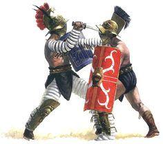 """""""A thraex fighting with a myrmillo. c. mid-1 st century AD"""", Vladamir Golubev"""