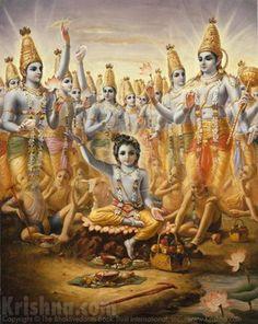 Lord Krishna displays His universal form to Lord Brahma