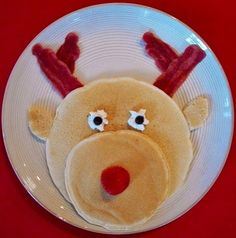 Family Breakfast Idea-What kid wouldn't love Rudolph pancakes for breakfast during the holidays. Change the nose and remove the antlers and you would have a cute bear!