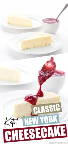 Classic New York Style Keto Cheesecake This rich and creamy New York Style keto cheesecake is heaven on a plate. Top with sugar-free berry sauce or some of my low carb hot fudge sauce. Only 7 ingredients and TOTAL carbs! Low Carb Cheesecake, Cheesecake Recipes, Dessert Recipes, Keto Desserts, Sugar Free New York Cheesecake Recipe, Dessert Ideas, Low Carb Deserts, Low Carb Sweets, Healthy Sweets