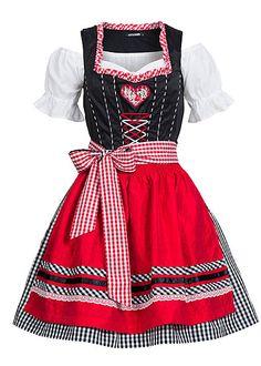 Hailys Damen Dirndl AM-0315248 HEIDI Schürze und Bluse 3-tlg kurz kariert schwarz rot weiss - Art.-Nr.: 15070714