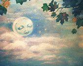 Jill Dianne Dollhouse Miniature - Moon Peeking Through The Tulip Tree - Children Baby Fairytale Storybook Nursery Art