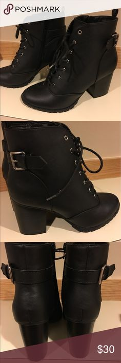 Lace up booties Size 9.5 Never been worn, 90's looking booties with a heel. Easy to walk in! Shoes Ankle Boots & Booties