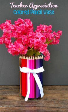 This pretty DIY Colored Pencil Vase is a fun craft idea for a homemade Teacher Appreciation gift!