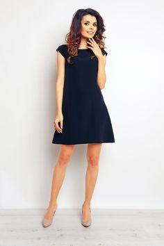 Sukienka Trapezowa Granatowa M74 BESIMA