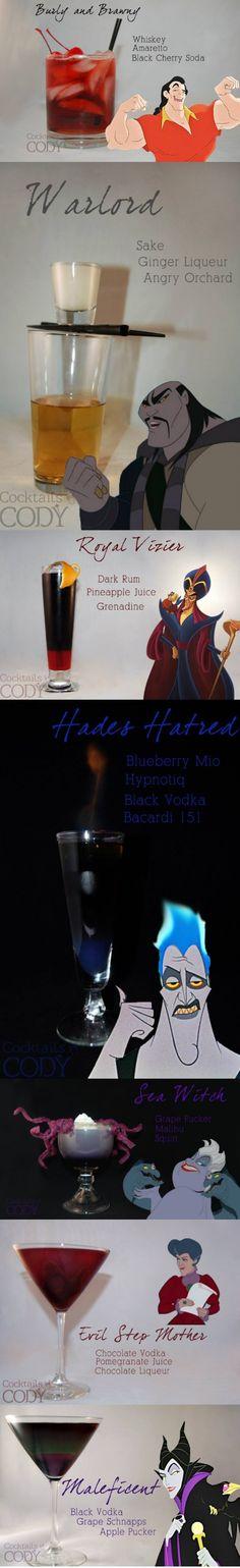 Disney villain mixed drinks :).