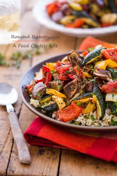 Roasting vegetables brings out their terrific flavor. This vegetable dish, either side or a vegetarian main dish,  is easy, healthy, colorful and good for you! Lots of fresh thyme, and if you have it, dried lavender or Herbs de Provence are a nice option.