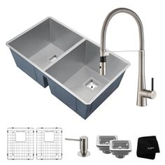 Pax All-in-One Undermount Stainless Steel (Silver) 32 in. 50/50 Double Bowl Kitchen Sink with Faucet in Stainless Steel