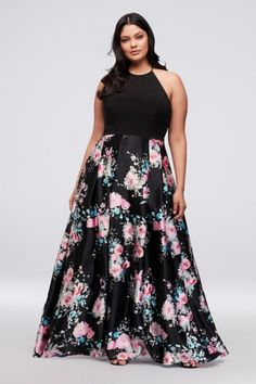 47dfeec128cd5 Jersey and Floral Satin Plus Size Halter Ball Gown 338BNW Evening Dresses  For Weddings