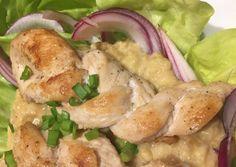 Lilahagymás vöröslencse saláta fokhagymás-mustáros csirkemell fonatokkal | Tünde Csele-Fekete receptje - Cookpad receptek