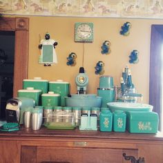 Turquoise 1950's retro kitchen wares. I found this amazing woman at her yard sale this weekend and she invited me in to see the house. Time warp into the best retro collection I have ever seen.