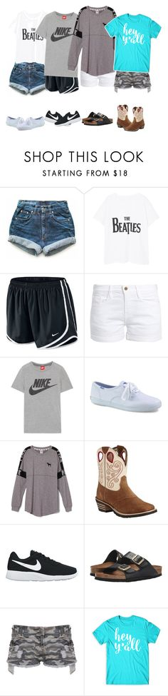 """""""What style are y'all?"""" by pistols-n-pearls ❤ liked on Polyvore featuring Levi's, MANGO, NIKE, Frame, Keds, Victoria's Secret PINK, Ariat, Birkenstock, CO and country"""