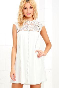 #Spring #AdoreWe #Lulus - #Lulus Hey Doll Ivory Lace Shift Dress - Lulus - AdoreWe.com