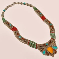 New 89gms Sterling Silver Gemstone Turquoise Red & Yello jasper Indian Necklace #AbhigyaartJewelry