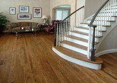 Red Oak with DriFast Quick Dry Stain- Provincial, finish Bona Traffic Satin Hardwood Floor Stain Colors, Wood Floor Finishes, Diy Wood Floors, White Wood Floors, Hardwood Floors, House Staircase, Staircases, Stairs, Oak Floor Stains