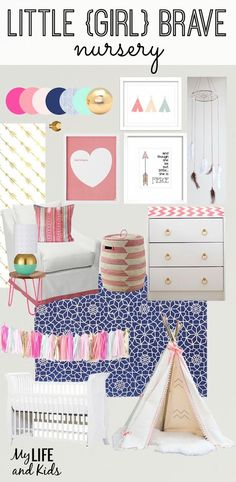 """Inspired by Shakespeare's quote """"And though she be but little, she is fierce"""" and Native American culture, this boho chic baby girl nursery is both playful and serene.:"""