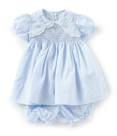 From Feltman Brothers&& this bolero dress features& necklineshort sleevesflower embroidery and lace detailingbutton back closurepolyester& washImported& Smocked Baby Clothes, Cute Baby Clothes, Smocked Dresses, Baby Blue Dresses, Girls Dresses, Vintage Baby Dresses, Yohji Yamamoto, Collars, Classic Outfits