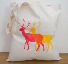 Summer Deer Tote, Hand Screen Printed