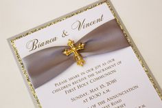 Silver and Gold Baptism-Communion Invitation by atouchofsunshine4