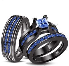1.90 CT Princess Cut Blue Sapphire With Tension Style His/Her Trio Ring Set 5-14 #Affoin8