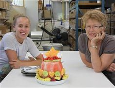 Summer watermelon birthday cake for the staff with beeswax birthday candles!