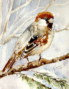 Peppermint Patty's Papercraft: Sunday Watercolor:House Sparrow