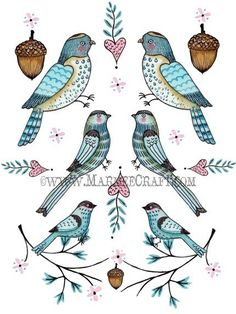 Bird and acorn folk art print Folkloric by MarmeeCraft on Etsy, $17.00