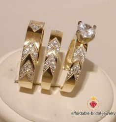 HN Jewels His /& Her 1//4Ct Sim Diamonds 14K Yellow Gold Plated .925 Engagement Wedding Ring Trio Set