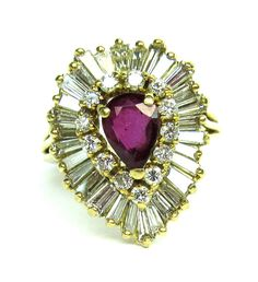 VF .75 Ct Ruby Diamond Ring 18k Yellow Gold Size 7 Cocktail Pear Cut 1394 O