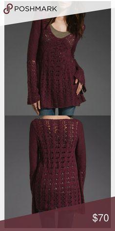 Plum Bell Sleeved Open Weave Sweater Free People Free people bell sleeve clockwork sweater in Small Free People Sweaters V-Necks