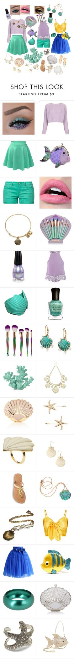 """""""Ariel"""" by sparrino ❤ liked on Polyvore featuring Topshop, even&odd, Alex and Ani, Glamorous, Deborah Lippmann, My Makeup Brush Set, Betsey Johnson, Sonoma life + style, Oasis and Coast"""
