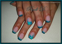 Turquoise French with opposite flowers by RadiD - Nail Art Gallery nailartgallery.nailsmag.com by Nails Magazine www.nailsmag.com #nailart