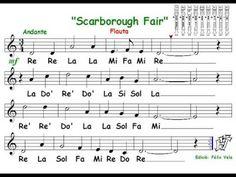 Scarborough Fair, (Flauta con notas)