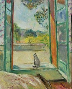 Charles Camoin - Le chat devant la fenêtre ouvert (Aix-En-Provence)