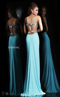 Sherri Hill 21332 Light Blue Cut Out Prom DressOutlet