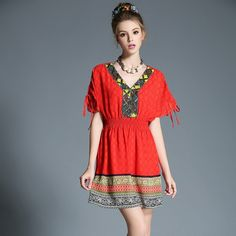 Boho Clothing Women Plus Size Summer Dress Embellished Ethical Pattern Red Chiffon Dress