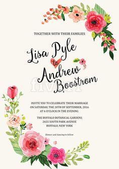 create watercolor floral wedding invitation - fiverr