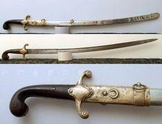 Ottoman military kilij, late 1800s, German silver scabbard.