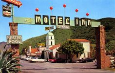 Motel Inn San Luis Obispo CA - the FIRST MOTEL in the US, it opened in 1925 as the Milestone Mo-Tel - about halfway between LA and San Francisco. It closed in 1991 and most of the buildings were demolished in The bell tower remains. Santa Barbara County, Nevada City, City Limits, Central Coast, San Luis Obispo, Motel, Time Travel, Places To See, Beautiful Places