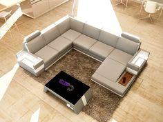 Divani Casa Massimo - Contemporary Bonded Leather Sectional Sofa With Light - myriaddecor Corner Sofa Design, Sofa Bed Design, Living Room Sofa Design, My Living Room, Hall Furniture, Modern Furniture Stores, Contemporary Furniture, Quality Furniture, Home Furniture