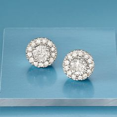 White Diamond Halo Earrings in White Gold - Gemstone Jewelry, Diamond Jewelry, Gold Jewelry, Jewelry Box, Diamond Earrings, Fine Jewelry, Stud Earrings, Jewellery, Diamond Studs