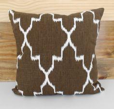 Modern brown moroccan ikat decorative pillow by pillowflightpdx, $26.00