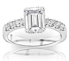 GIA Certified 1.21 Carat Emerald Cut/Shape 14K White Gold Classic Prong Set Diamond Engagement Ring with a 0.71... $3,180.00 #HoustonDiamondDistrict
